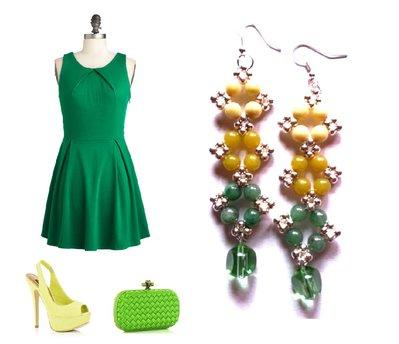 """Orecchini """"Starry ombre green"""" agata verde ed elementi argentati"""