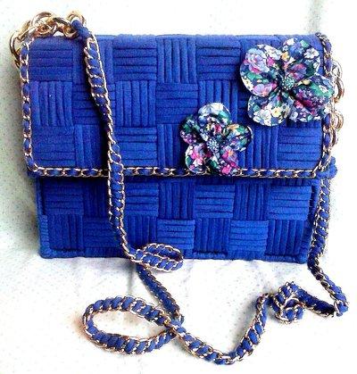 borsa in fettuccia blu