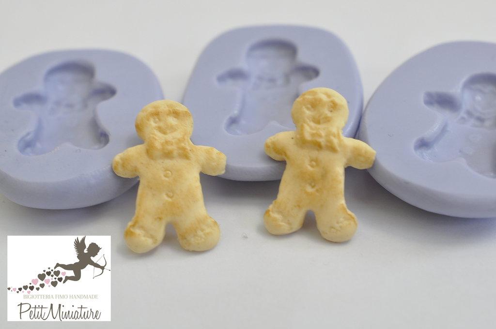 Stampo Silicone Flessibile Omino di Marzapane -Gingerbread-Stampo Gioielli charm Kawaii 20mm ST185