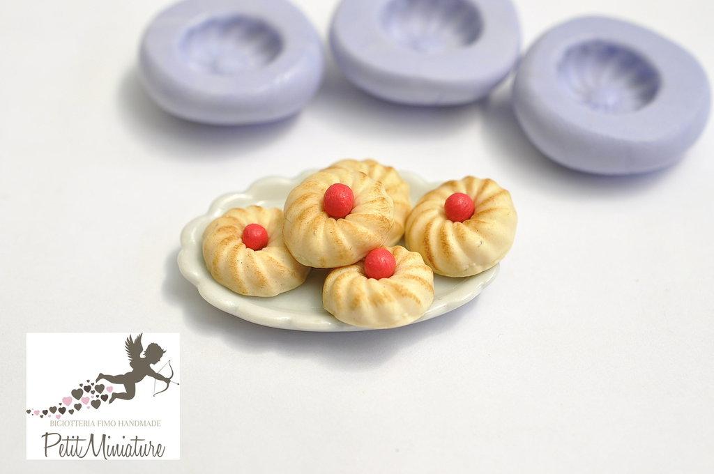 Stampo Silicone Flessibile biscotto ,Miniature cibo,gioielli,charms,biscotto,fimo,polymer clay,resina,sapone,dolce,20mm ST189 Attiva