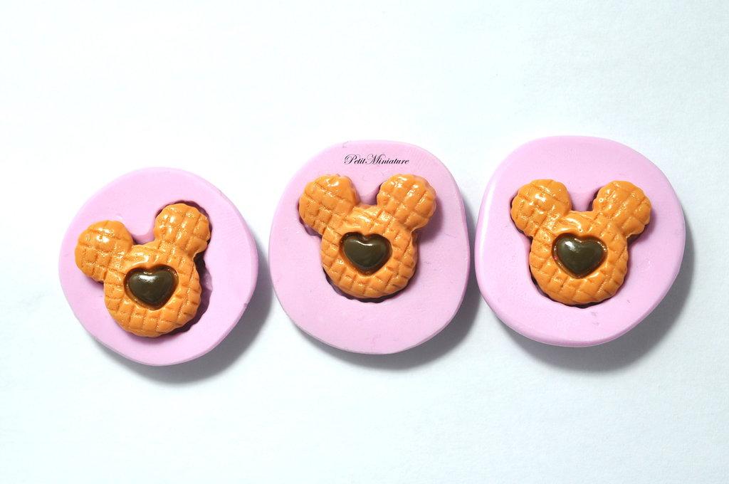 STAMPO CIAMBELLA cialda in silicone flessibile stampo dolci dollhouse fimo gioielli charms cabochon cibo in miniatura kawaii st097