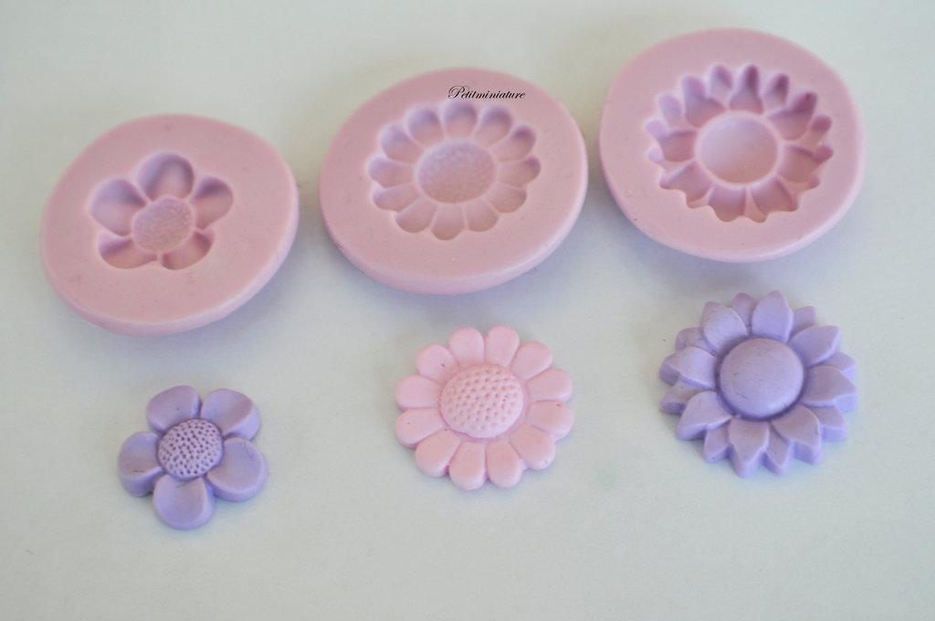 KIT STAMPO FIORE 2cm st109 in silicone flessibile 3d macaron miniature dollhouse charm kawaii fimo gioielli sapone resina gesso