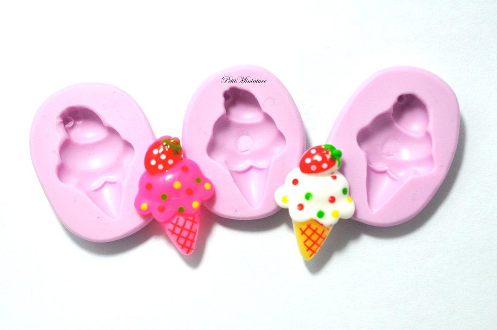 Stampo Silicone Flessibile cono gelato,Miniature cibo,gioielli,charms,gelato,fimo,polymer clay,resina,sapone,dolce,20mm ST119
