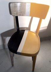 sedia legno decoupage