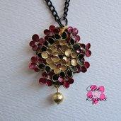 Collana fiori smalto oro bordeaux