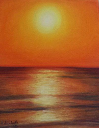 pastello mare al tramonto