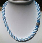 Collana Perline azzurro bianco idea regalo donna