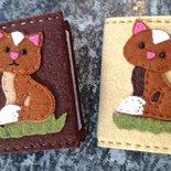 Porta carte di credito rivestito e decorato in feltro