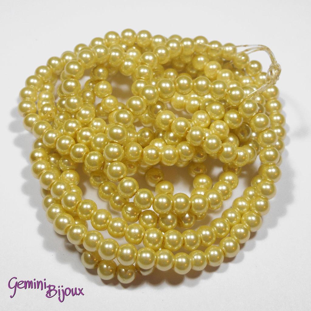 Lotto 20 perle tonde in vetro cerato 6mm giallo