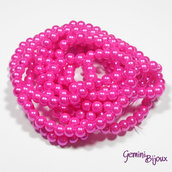 Lotto 20 perle tonde in vetro cerato 6mm fuxia