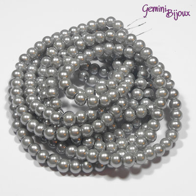Lotto 20 perle tonde in vetro cerato 6mm silver