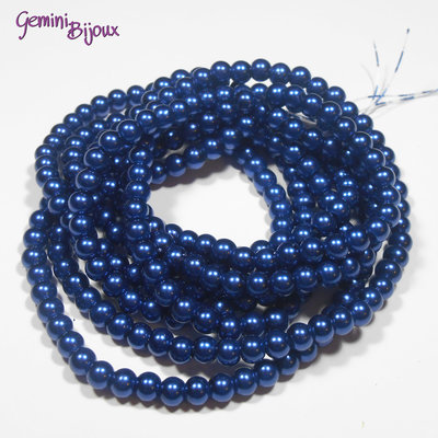 Lotto 20 perle tonde in vetro cerato 6mm blu navy