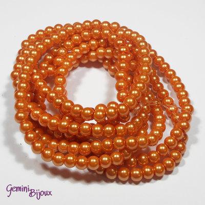 Lotto 20 perle tonde in vetro cerato 6mm orange