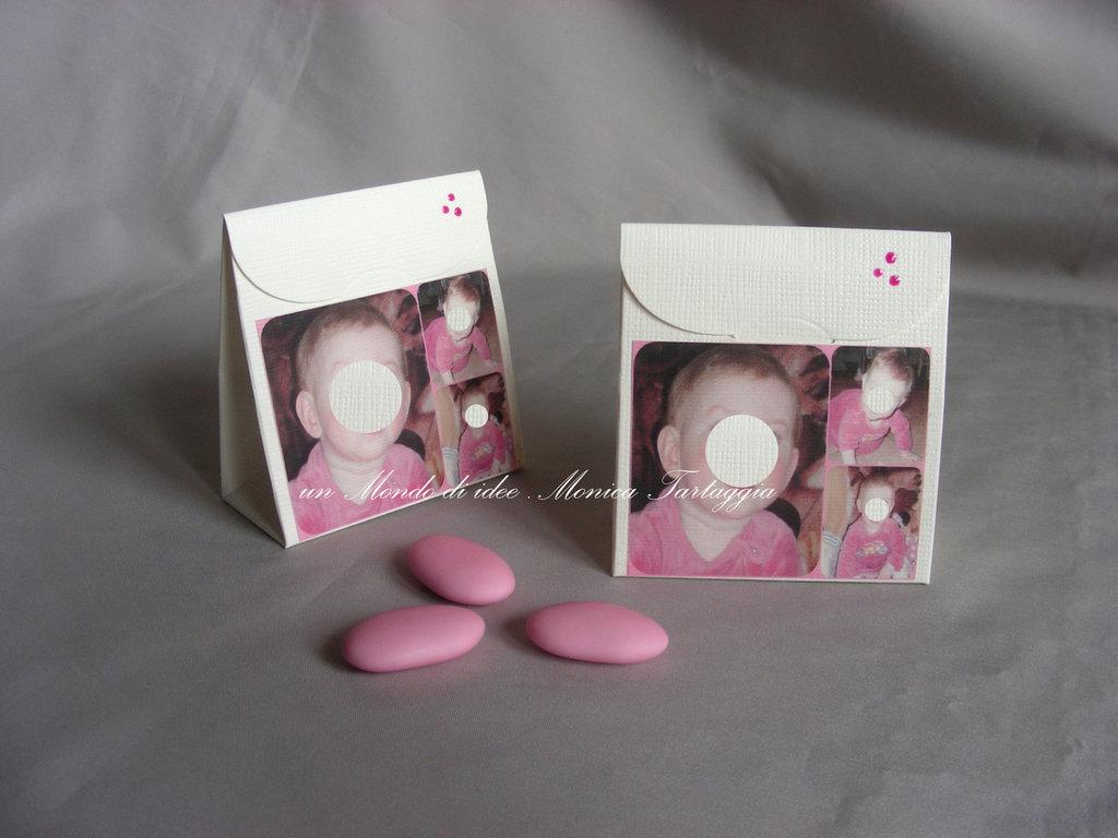 scatolina portaconfetti con foto femminuccia