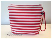 Pochette in cotone a righe bianche e rosse