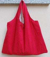 Borsa rossa con fodera con numeri stampati