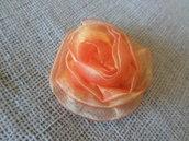 Rosa arancione fermaglio capelli - spilla in organza