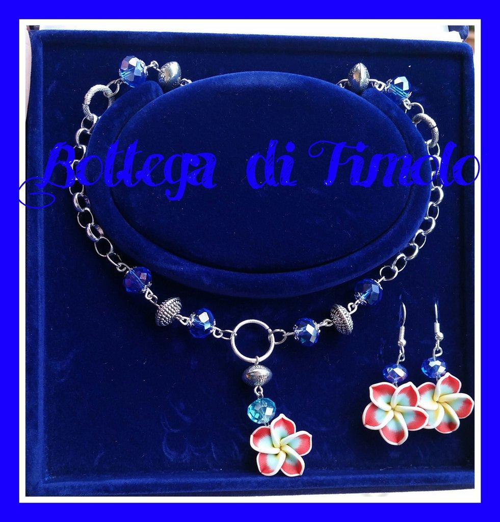 Parure collana e orecchini con fiore kawaiano