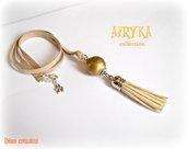 Collana con nappa e perla dorata - Afryka Collection