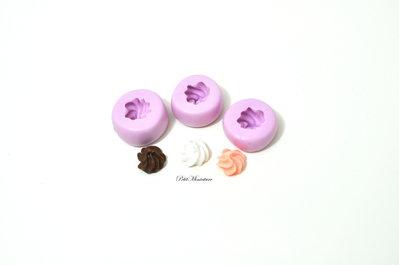 Stampo Panna montata cupcake stampo 3D ST143 Silicone flessibile Mold panna montata in miniatura Kawaii Fimo gioielli Charms cibo