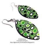 Orecchini pendenti in fimo con murrina verdi