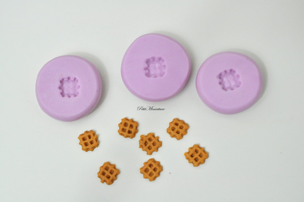 Stampo Silicone Flessibile waffle miniatura dollhouse,Miniature cibo,gioielli,charms,biscotto,fimo,polymer clay,dolce,0,5mm ST153