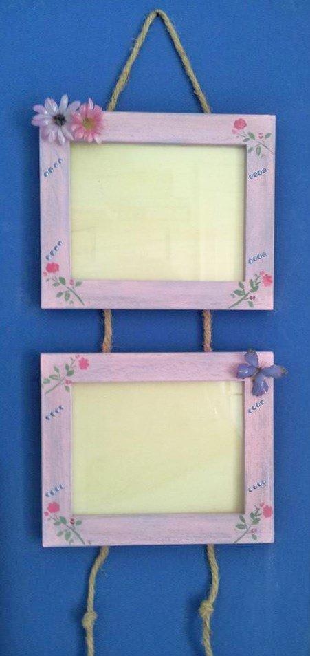 cornice in legno portafoto da parete doppia con sospeso trasparente ed effetto 3D
