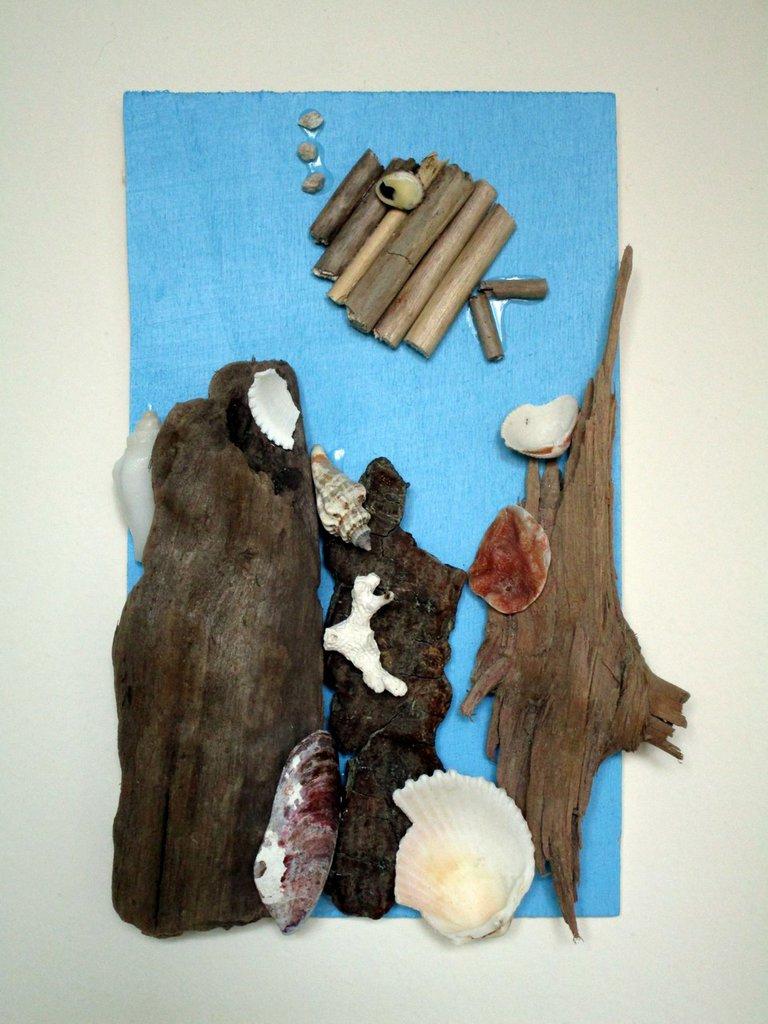 quadretto con legnetti di mare e conchiglie