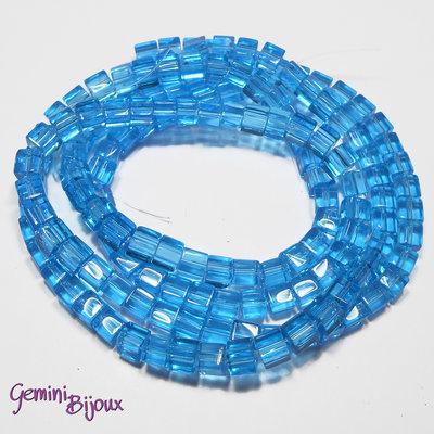 Lotto 20 cubetti in vetro 4mm azzurro