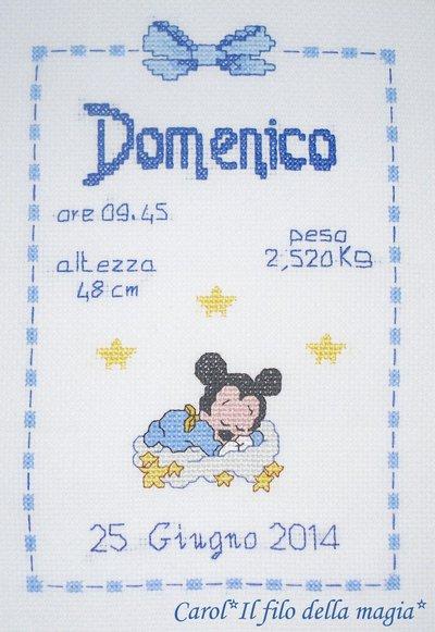 Quadretto nascita - fiocco nascita - BABY TOPOLINO STELLINE -punto croce- B56