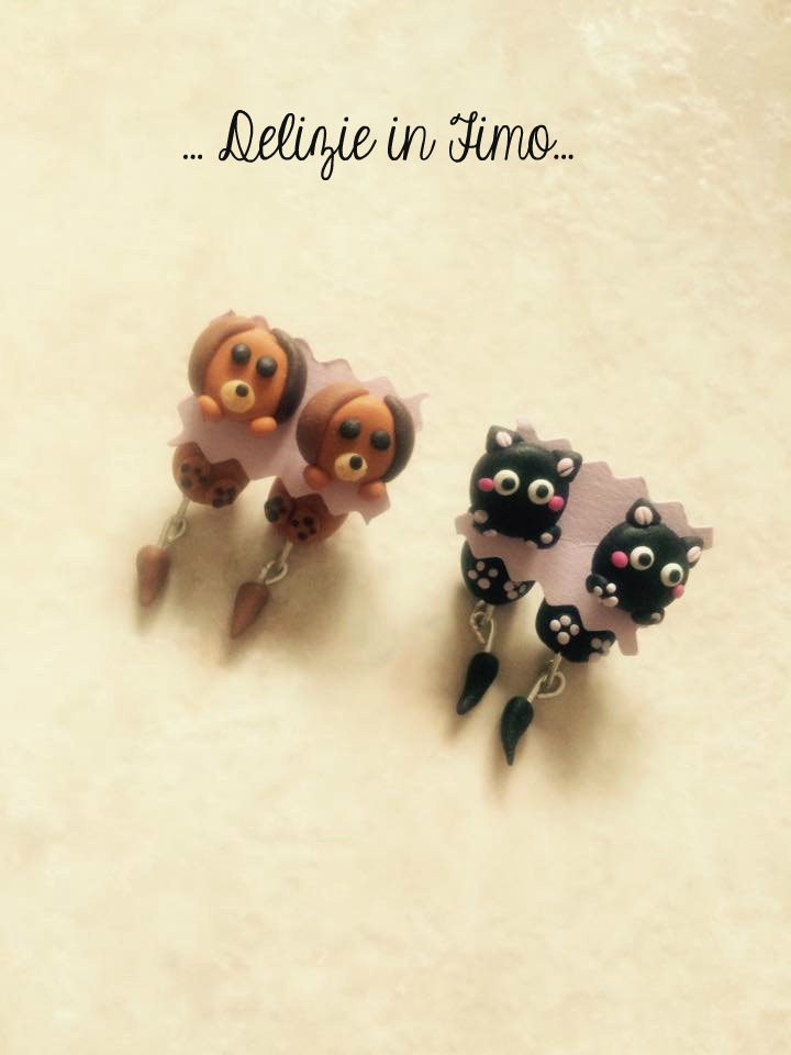 Coppie orecchini Cane e Gatto in Fimo  Couples earrings Dog and Cat polymer clay