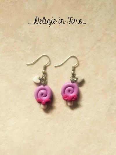 Coppia Orecchino Pendente Lollipop (Lecca lecca) in fimo   Pair earring pendant Lollipop polymer clay