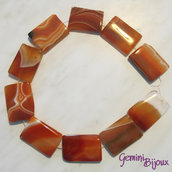 Pietra rettangolare di agata striata arancio, mm. 25x35
