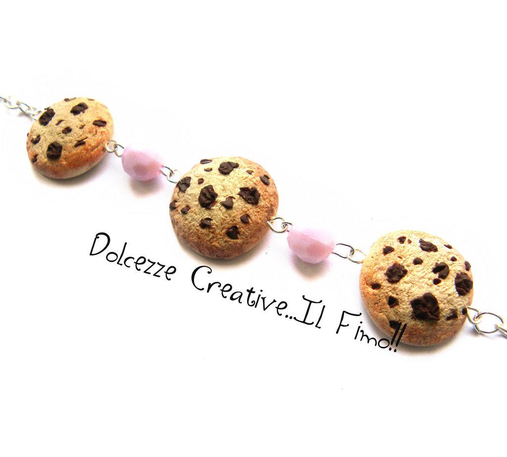 Bracciale kawaii - miniature - cookie, biscotti al cioccolato con perle rosa pastello
