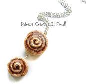Collana doppia Girella alla cannella - Dolci- Miniature - Cinnamon roll