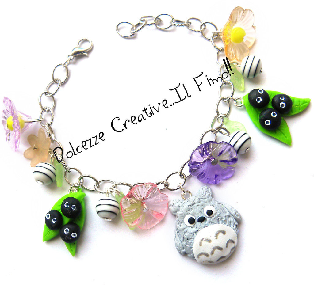 Bracciale Totoro con nerini del buio con fiori e foglie - Miniature - cartoon