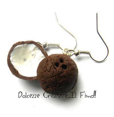 Orecchini Cocco - Miniatura - kawaii idea regalo - Vegan (su ordinazione)
