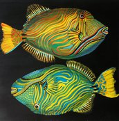 Pesci tempera su carta preparata con lo sfondo acrilico, dipinto originale