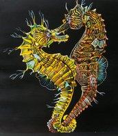 Pesci Ippocampi (cavallucci marini) tempera su carta preparata con lo sfondo acrilico, dipinto originale