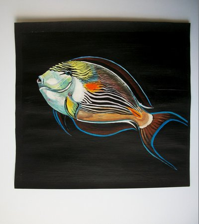 Pesce Chirurgo Zebrato tempera su carta preparata con lo sfondo acrilico, dipinto originale