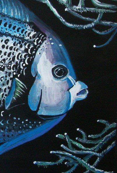 Pesce Angelo tempera su carta preparata con lo sfondo acrilico, dipinto originale