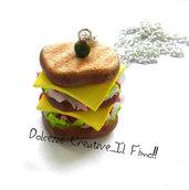 Collana Maxi Toast farcito con formaggio, pomodori, insalata e prosciutto - KAwaii -  miniature