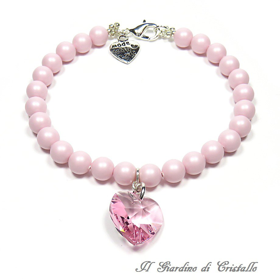 Bracciale con perle pastello e cuore di cristallo Swarovski rosa fatto a mano – Primula