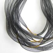 COLLANA nera multi filo tubi rete in nylon