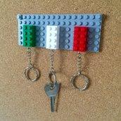 Set 3 portachiavi LEGO originali con supporto da parete