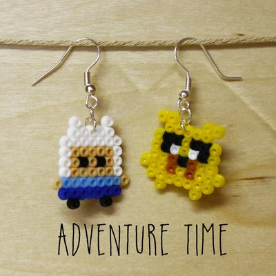 Orecchini mini hama beads Adventure Time, Jake e Finn