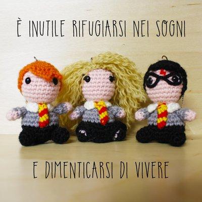 Pupazzetti amigurumi Harry Potter, Ron Weasley ed Hermione Granger