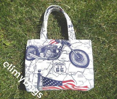 Borsa bandiera americana e moto fatta a mano♥