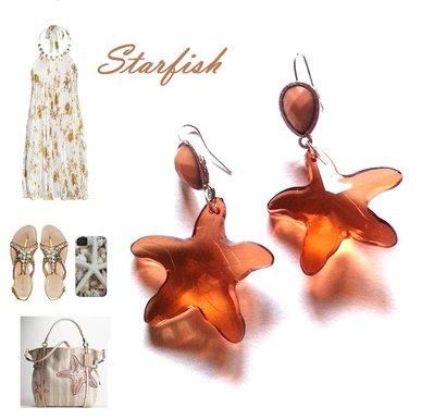 """Orecchini """"Starfish Jelly"""" stella di mare plexiglass trasparente marrone"""