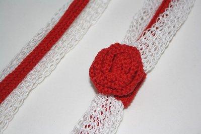 Collana tricotin bianca e rossa